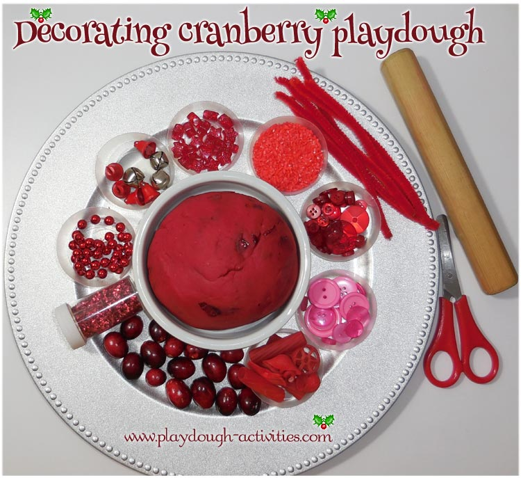Cranberry playdough activity - loose media and tools to decorate and sculpt