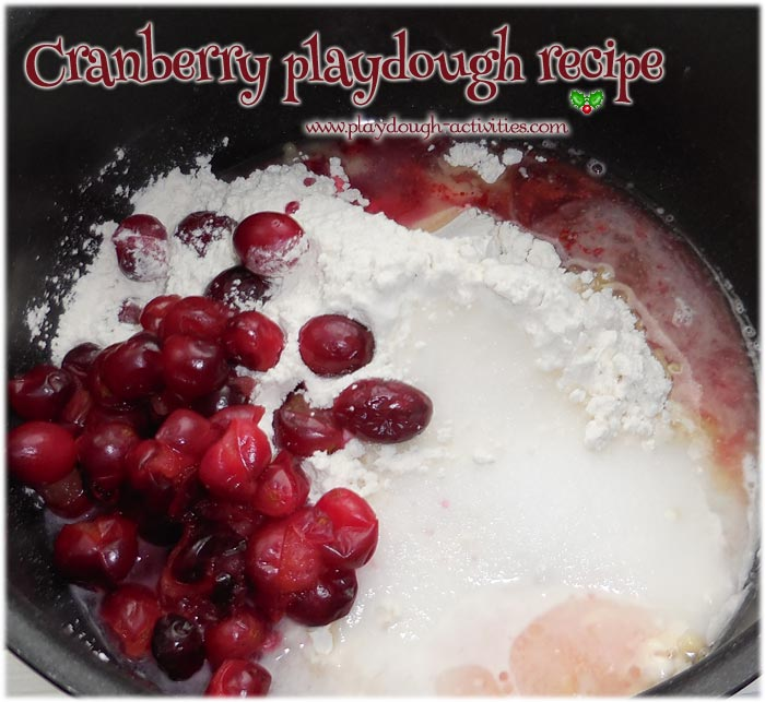 Recipe ingredients to make cranberry play dough