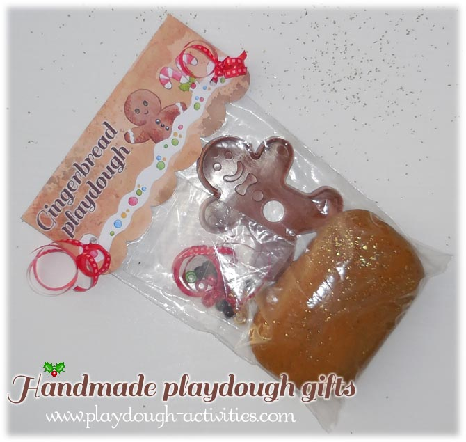 Finished gingerbread play dough gift ready for Christmas wrapping