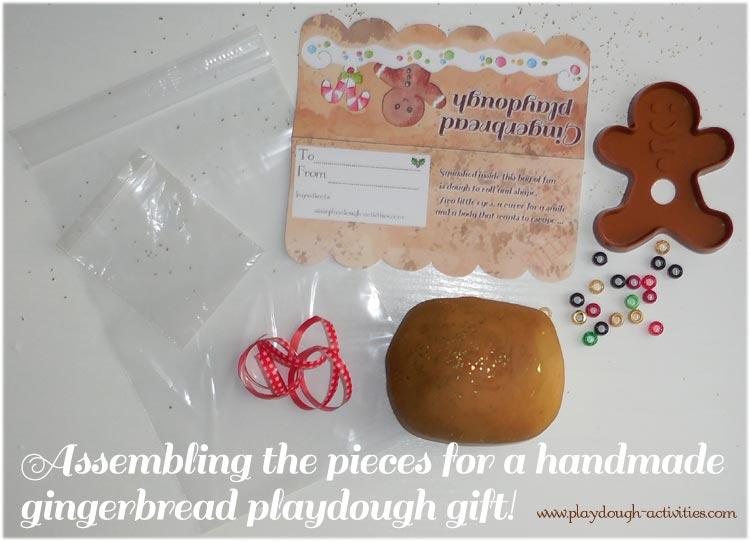 resouces fora handmade gingerbread playdough gift bagh