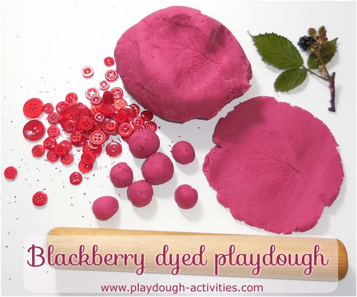 Blackberry playdough recipe and activity ideas for preschool children's indoors and outside play