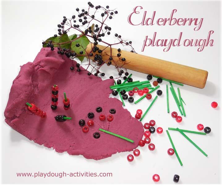 Elderberry dye recipe for playdough activities