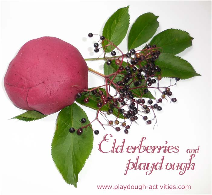 Making playdough with natural fruits - elderberry dye recipe