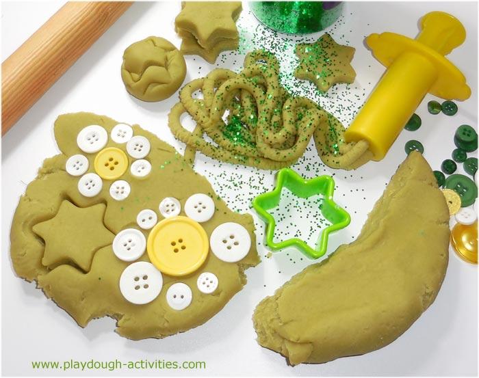 Green grass playdough activity for children