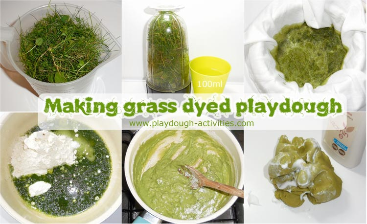 Recipe, how to dye playdough a grass green colour using natural ingredients