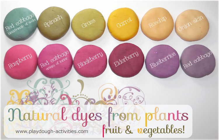 A collection of natural playdough dyes made from plants, fruits and vegetables