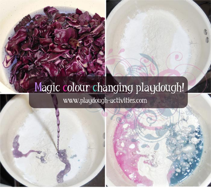 Cabbage dye colour changing recipe for magic playdough