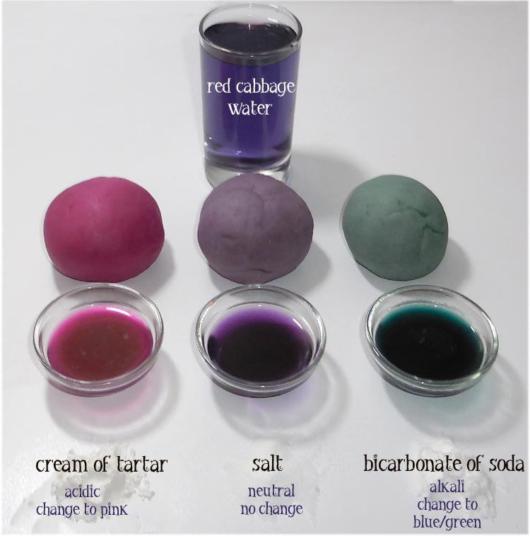 Red cabbage dye colour changes - playdough recipe