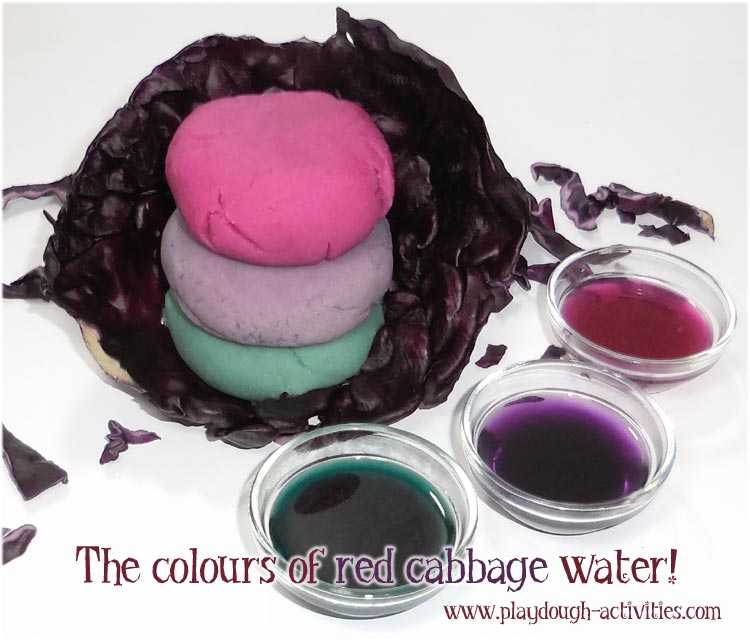 Red cabbage dye and a magical playdough colour combination