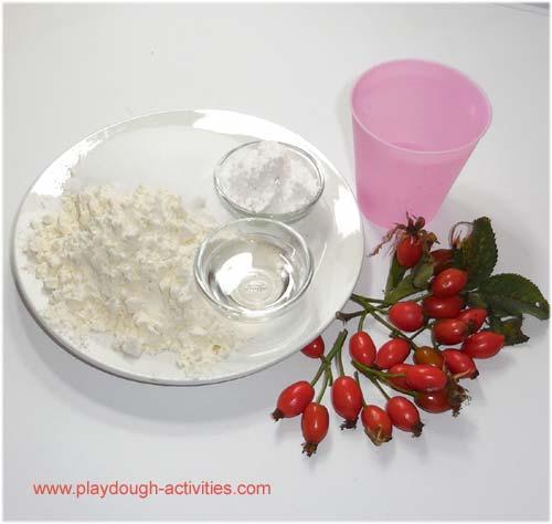 Ingredients to make rosehip dye and playdough