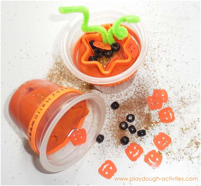 Pumpkin playdough display - children's invitation to play