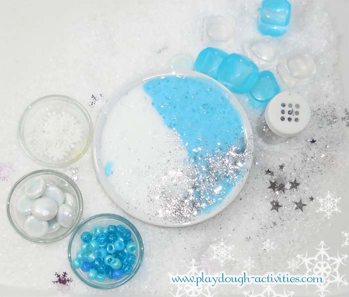 Frozen blue and white slime flubber putty recipe activity