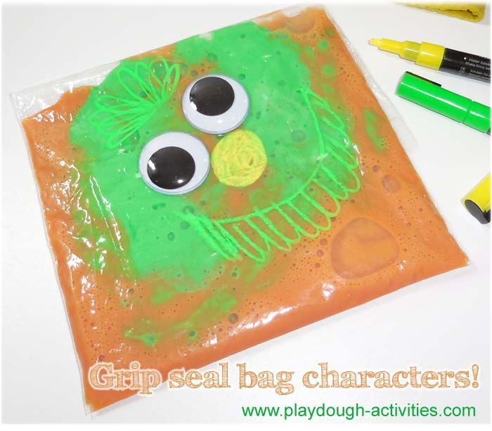 Slime activity idea , chalk pen and grip seal bag character makin