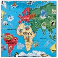 Continents of the world jigsaw floor puzzle