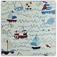 Ocean boats PVC wipe clean tablecloth