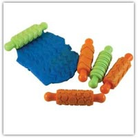 Buy textured rolling pins to pattern the surface of playdough