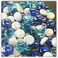 Blue and white glass nuggets for collage - buy on amazon.co.uk