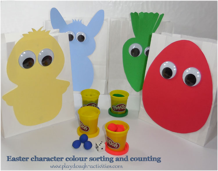 Use Easter themed outlines to colour sort and count using a dice