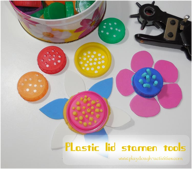 Hole punch plastic lids to make flower stamen extruder tools